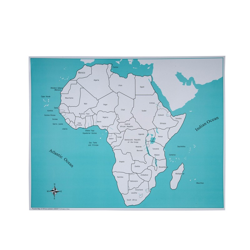 Labeled Africa Control Map (LJGE007-1) by Leader Joy Montessori USA