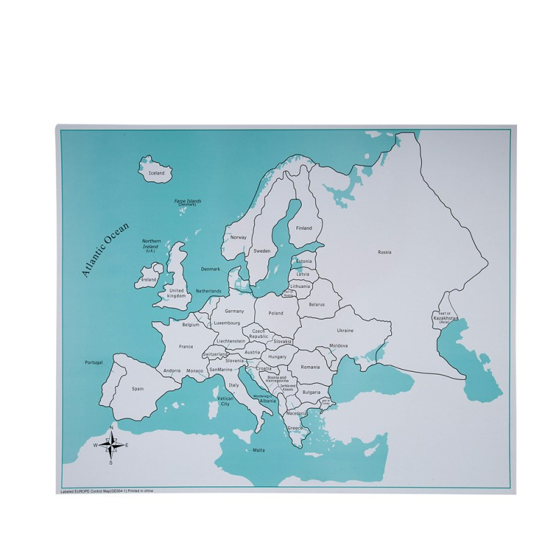 Labeled Europe Control Map (LJGE004-1) by Leader Joy Montessori USA