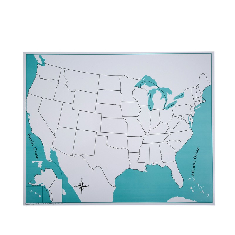 Unlabeled USA Control Map LJGE By Leader Joy Montessori USA - Unlabeled map of the us